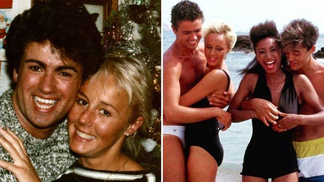 An intimate photo of George Michael and Shirlie together at Christmas, and Wham! behind the scenes of their 'Club Tropicana' video.