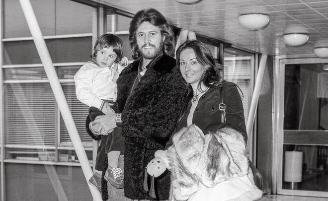 Barry Gibb and wife Linda at Heathrow with their first son Stephen