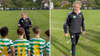 Watch as Rod Stewart gives heartwarming pep-talk to his young son's football team