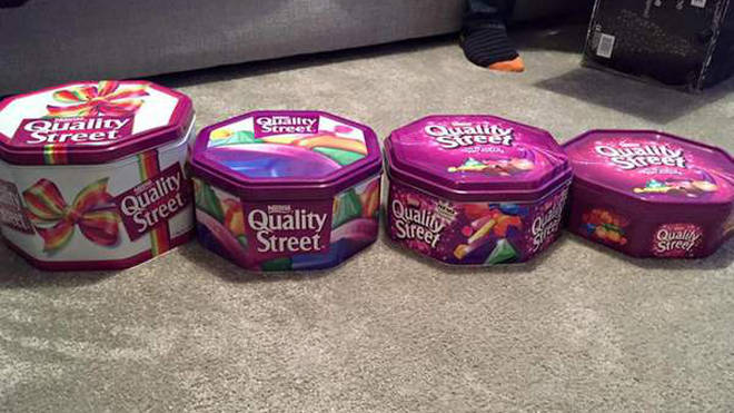 Charlotte Hook showed how Quality Street's tubs have shrunk over the years