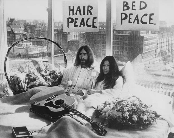 John Lennon and Yoko Ono demonstrating their peace activism