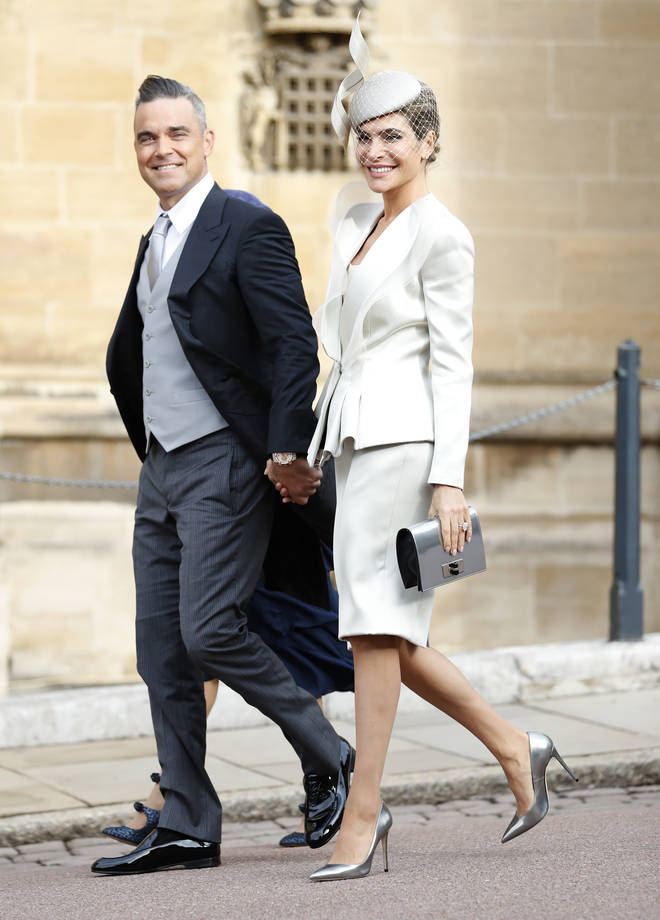 Robbie appeared looking trim alongside wife Ayda for Princess Eugenie's wedding this October