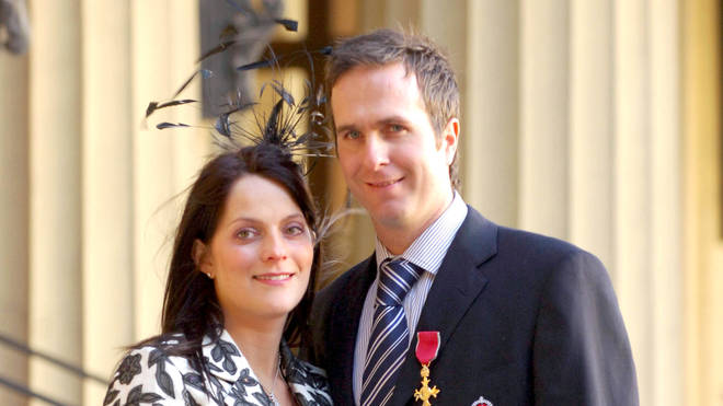 Michael Vaughan and wife Nichola in 2005, after receiving his OBE