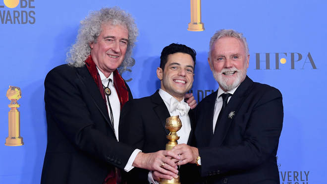Brian May, Rami Malek and Roger Taylor at the Golden Globe Awards 2019
