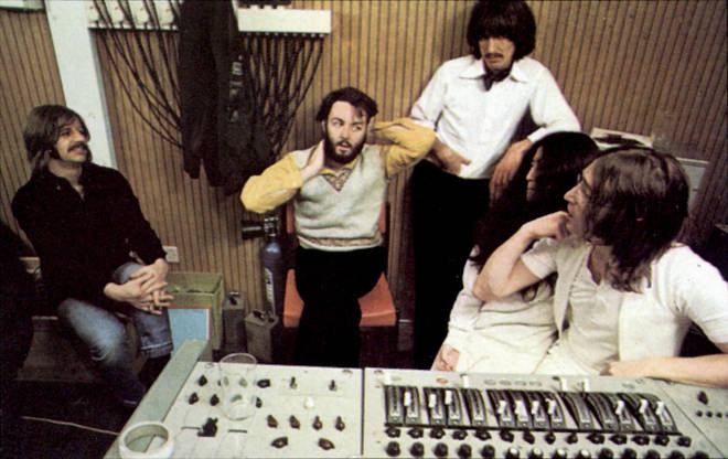 The Beatles stars Paul McCartney, Ringo Starr, John Lennon and George Harrison are joined by Lennon's partner Yoko Ono in the recording studio