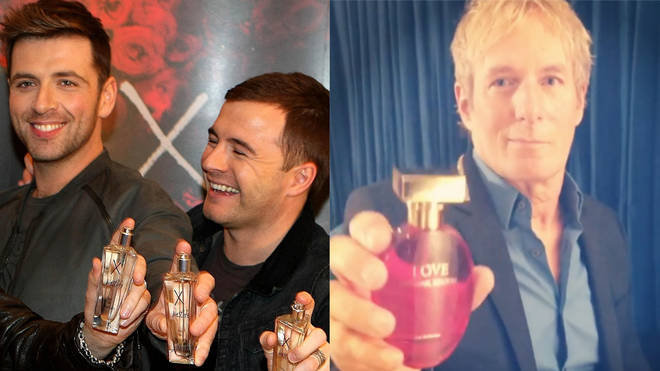 Westlife and Michael Bolton proudly display their colognes