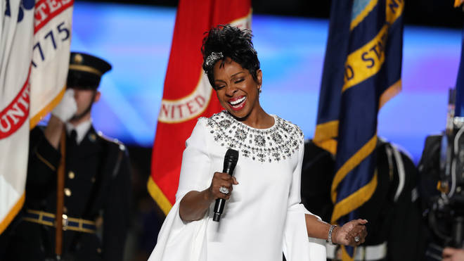 Gladys Knight performs the national anthem at the Super Bowl 2019