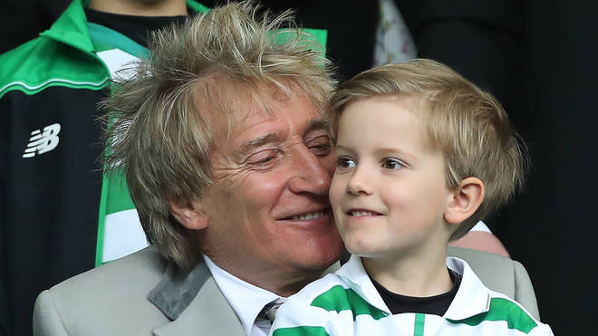 Rod Stewart and son Aiden at a Celtic game