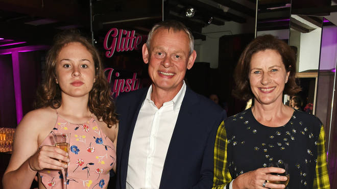 Martin Clunes with daughter Emily and wife Philippa in 2016