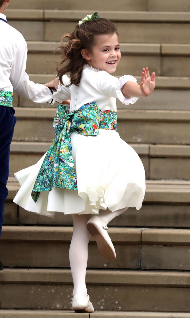 Theodora happily waved at the cameras in Princess Eugenie and Jack Brooksbank's wedding