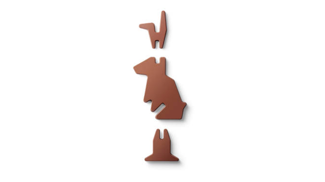 The chocolate bunny comes in three separate parts ready for assembly