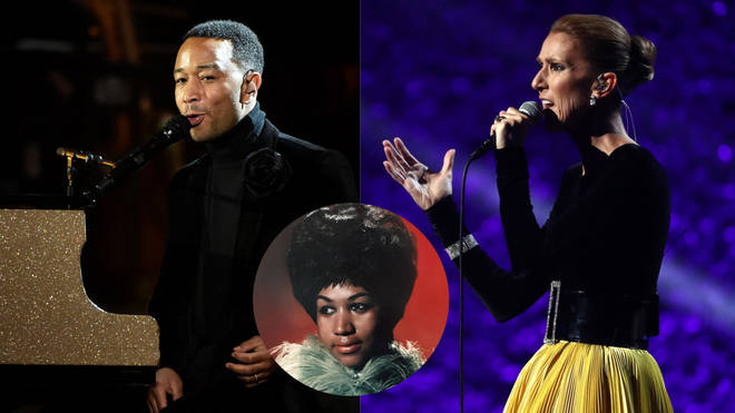 John Legend and Celine Dion perform at the Aretha Franklin Grammys Tribute show