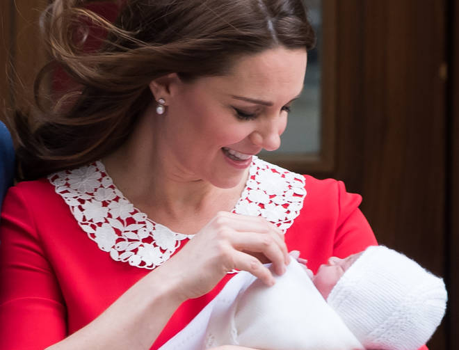 The Duchess of Cambridge with Prince Louis after his birth in 2018