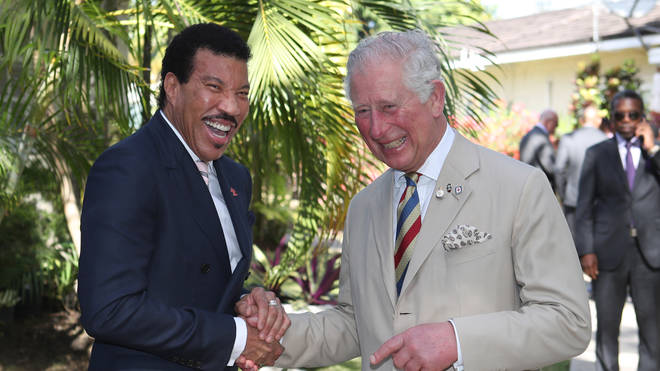 Prince Charles meets Lionel Richie in Barbados