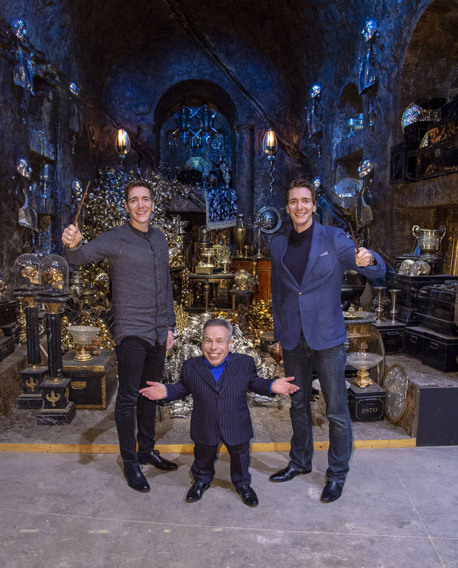 James Phelps (L), Warwick Davis (C) and Oliver Phelps (R) in...