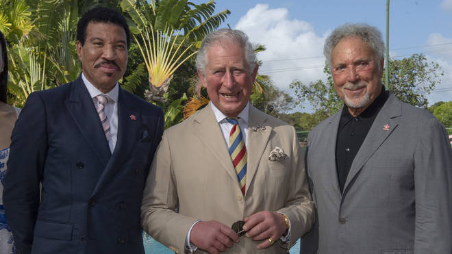Lionel Richie, Prince Charles and Tom Jones in Barbados