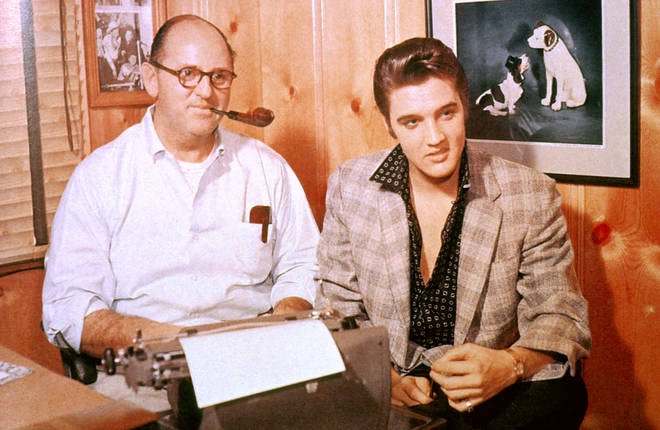Manager Tom Parker and Elvis Presley photographed in c.1956