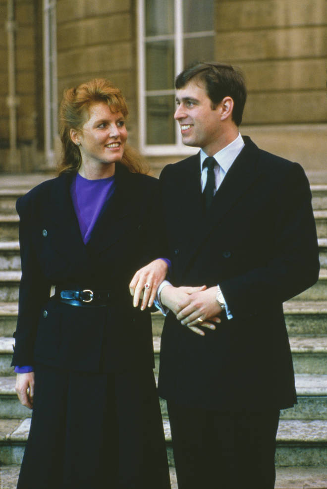 Prince Andrew with Sarah Ferguson at the announcement of their engagement on 17th March 1986
