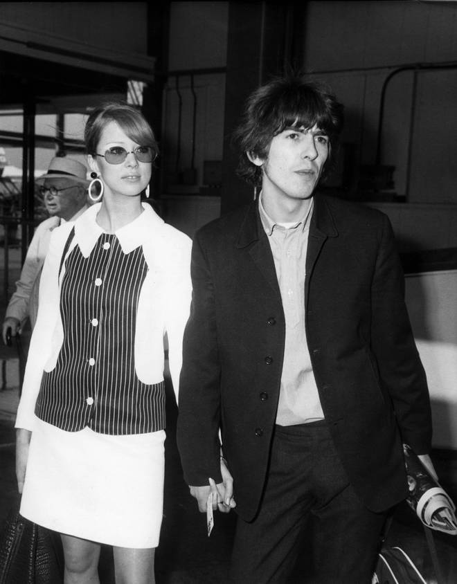 Photo of George HARRISON and Patti BOYD and BEATLES