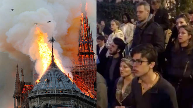 Onlookers sing 'Ave Maria' as Notre Dame burns