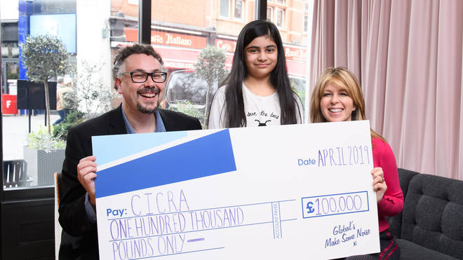 Kate Garraway presents CICRA with Make Some Noise cheque