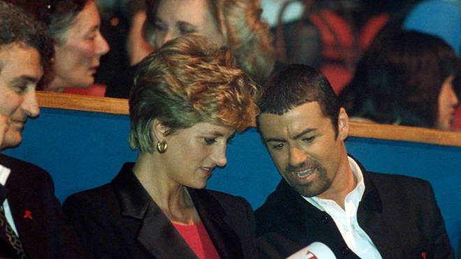 Princess Diana and George Michael at the Concert of Hope for World AIDS day at Wembley in 1993