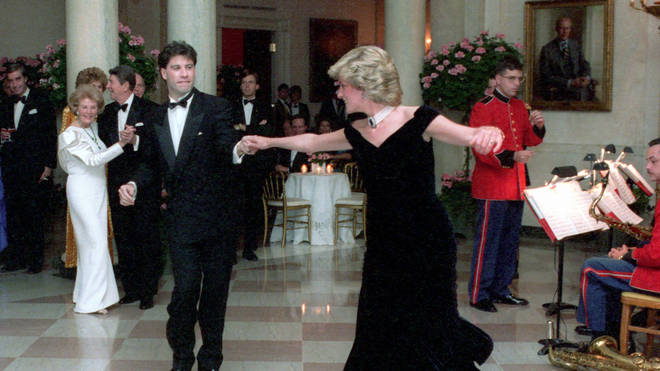 John Travolta and Princess Diana dance together at the White House in 1985