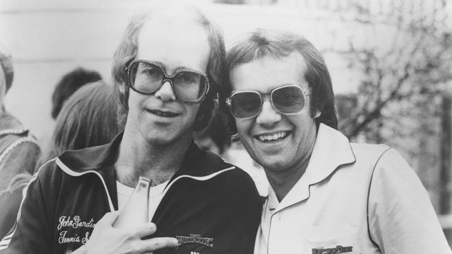 Elton John and Bernie Taupin pictured in 1974