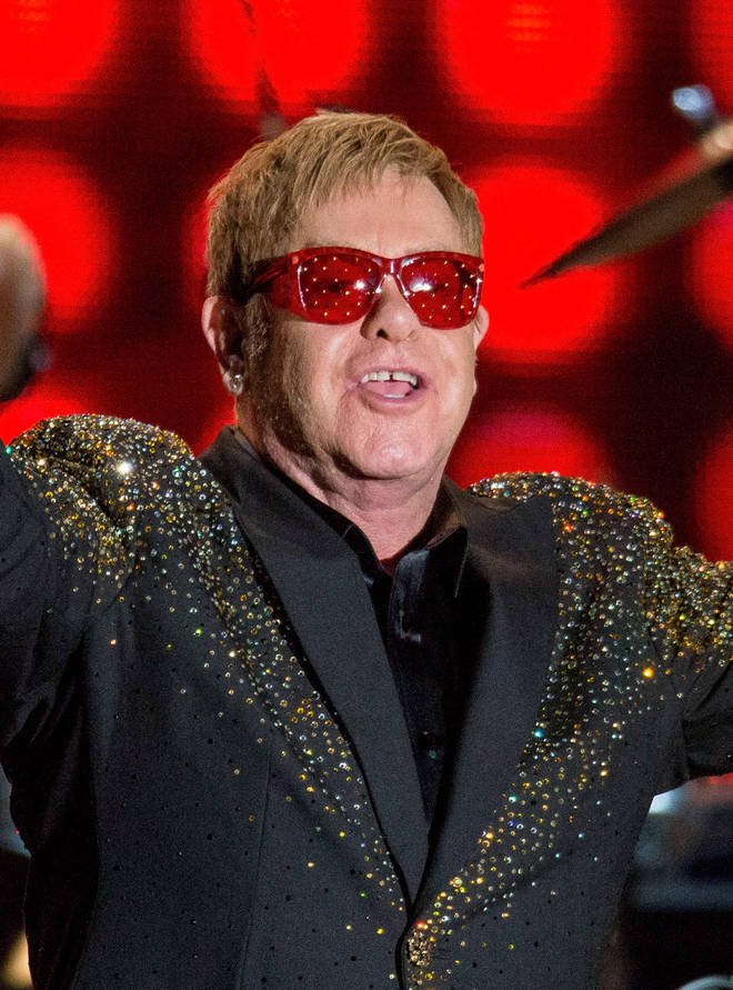 Elton's bespoke glasses on stage in 2015