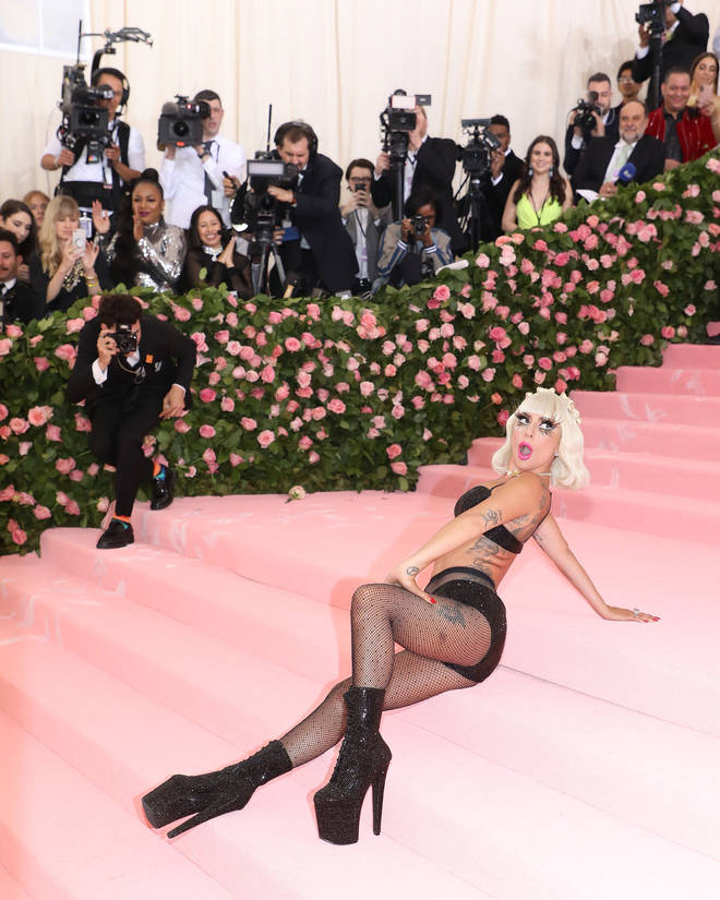 Lady Gaga lay down on the Met Gala steps in front of the world's press