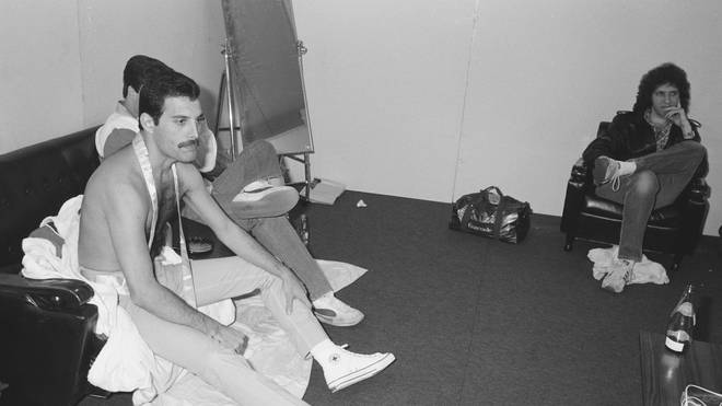 Freddie pictured backstage at the Hankyu Nishinomiya Stadium after a show on the Hot Space Japan tour, Nishinomiya, Japan, 24 October 1982.