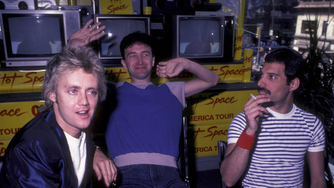 Roger Taylor, John Deacon and Freddie Mercury of Queen attend Queen Press Conference on July 27, 1982 at Crazy Eddie's in New York City