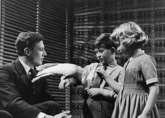 Prince Charles and Princess Anne meet naturalist Sir David Attenborough at Lime Grove Studios on the 4th January, 1958