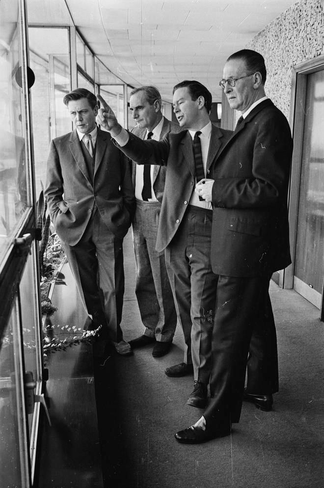 5th March 1965:  BBC Television controllers (from left) David Attenborough, Michael Peacock, Huw Wheldon and Kenneth Adam at BBC TV Centre.