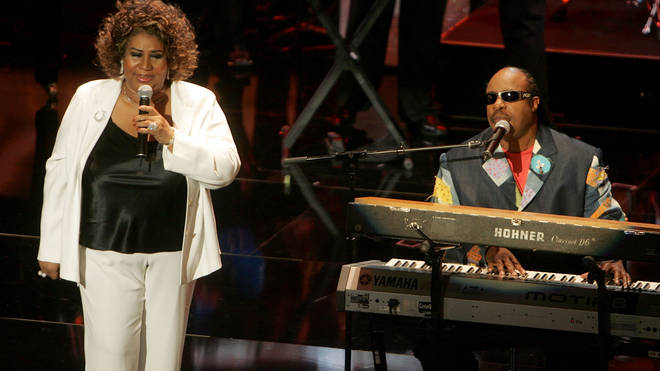 Aretha Franklin and Stevie Wonder perform onstage at the 10th Annual Soul Train Lady of Soul Awards in 2005