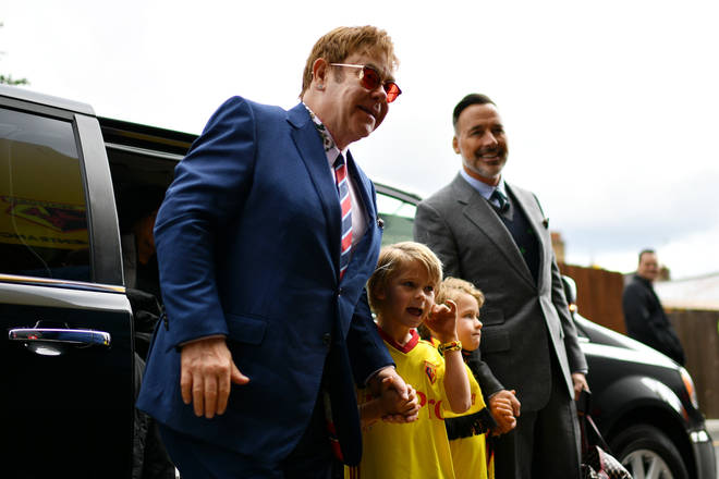 Elton John, David Furnish and their sons attend a Watford game in 2017