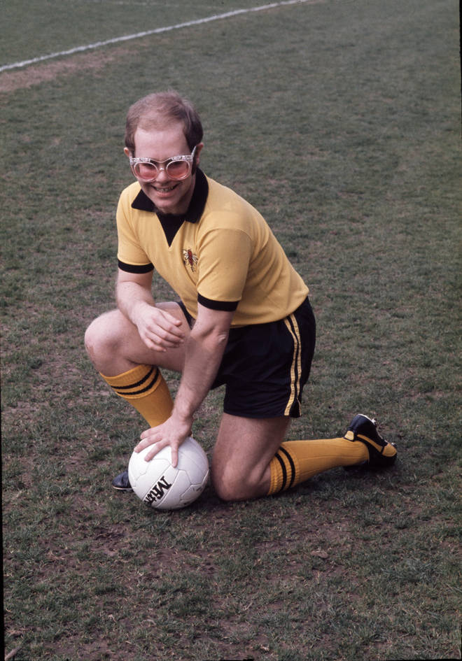 Elton John in Watford's kit in 1973
