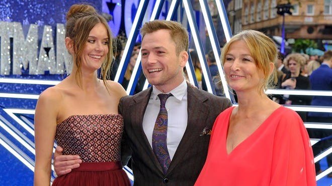 Taron Egerton with girlfriend Emily Thomas and mum Christine