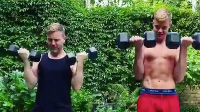 Gary Barlow works out with son Daniel