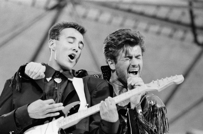 George Michael and Andrew Ridgeley at the Wham! The Farewell Concert at Wembley Stadium, London on 28th June 1986