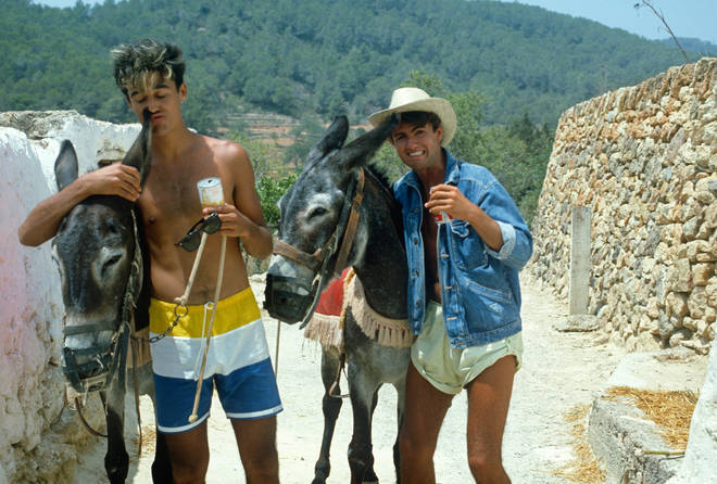 Wham! during the recording of Club Tropicana at Pikes Hotel in Ibiza on March 16, 1983 in Ibiza, Spain.