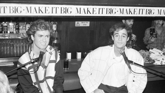 George Michael and Andrew Ridgeley seen here giving a press conference during a cocktail party, 2nd November 1984