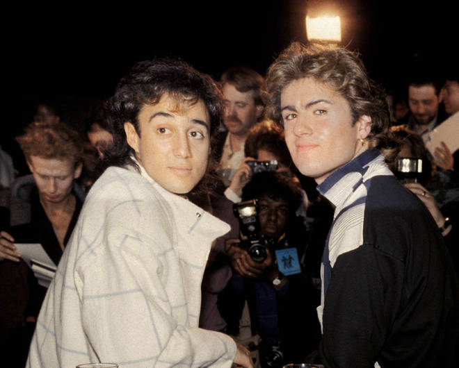 Photo of George Michael and Andrew Ridgeley of WHAM!