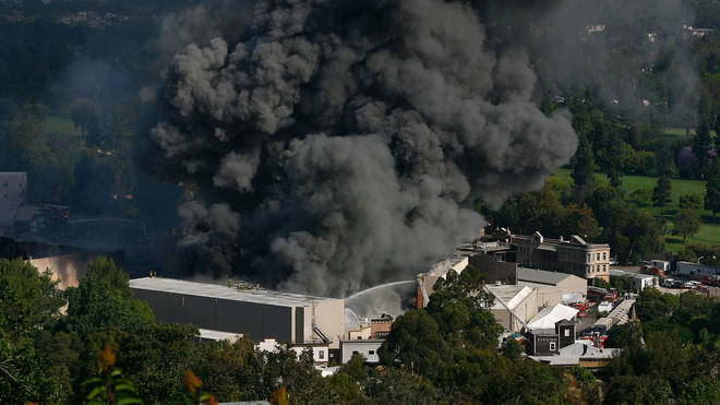 Firefighters Battle Blaze At Universal Studios