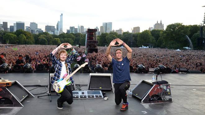 Chris Martin and Ed Sheeran in 2015