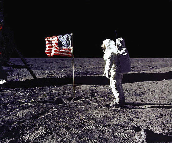 NASA's photo of the 1969 Apollo 11 moon landing