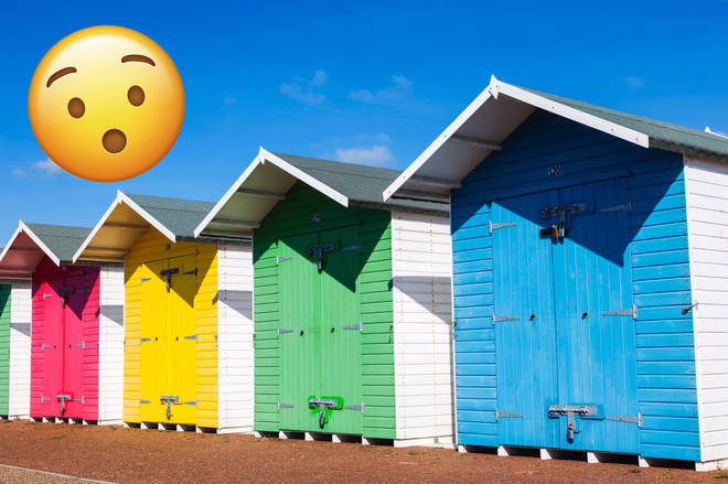 Colourful beach huts on Eastbourne Beach