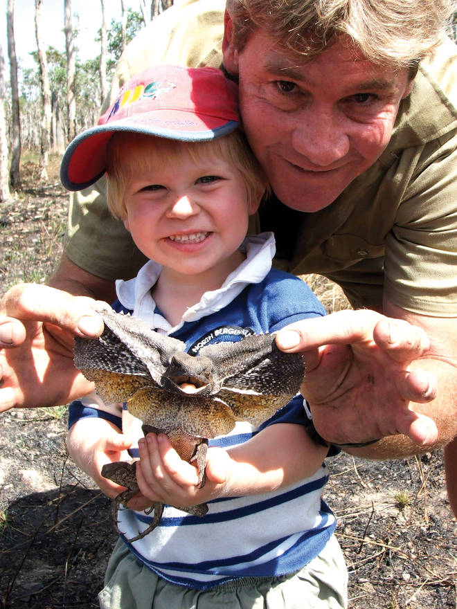 Robert Irwin with his father Steve Irwin