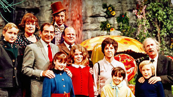 Denise Nickerson as Violet Beauregarde alongside the Willy Wonka & The Chocolate Factory cast