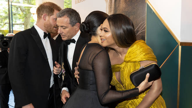 The Lion King 2019: Meghan Markle hugs Beyoncé Knowles-Carter